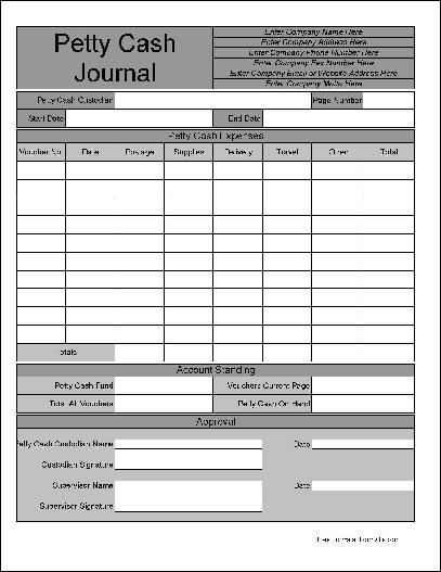 Free Personalized Wide Row Petty Cash Journal from Formville – Free Petty Cash Template