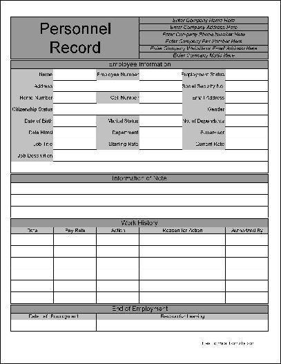 Free Personalized Wide Row Personnel Record Form from Formville