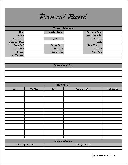 Free Fancy Personnel Record Form from Formville