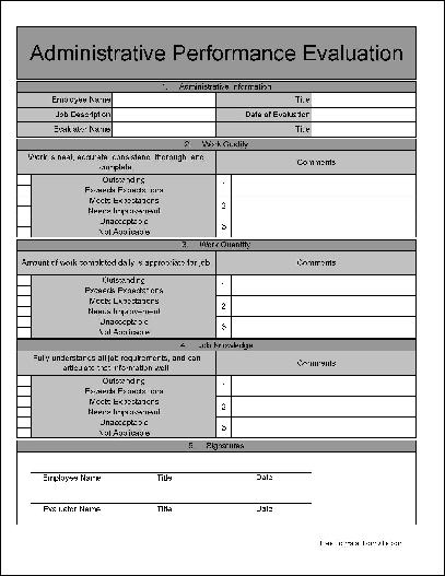 Free Basic Wide Numbered Section and Rows Administrative – Performance Evaluation Forms