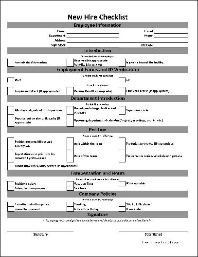 Employee New Hire Form Template