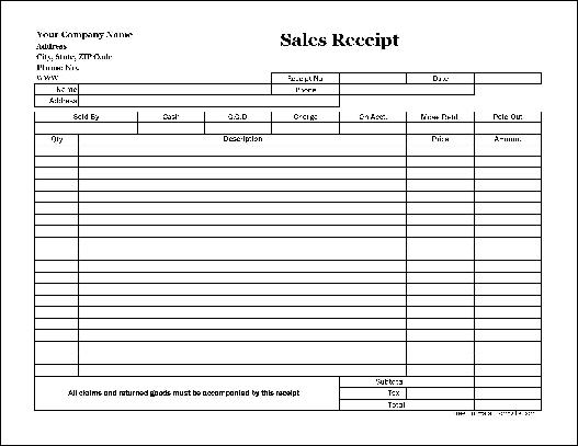 Free EasyCopy Basic Sales Receipt Wide From Formville