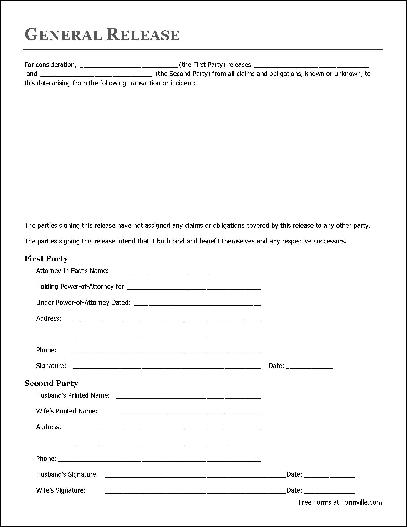 Basic Release Form (Attorney In Fact To Husband And Wife)