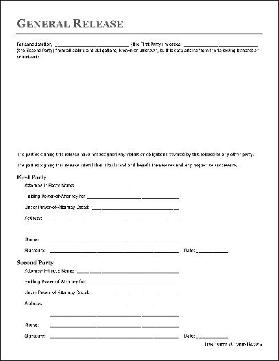 Doc7911024 Copyright Release Form Free Generic Photo – Simple Liability Waiver