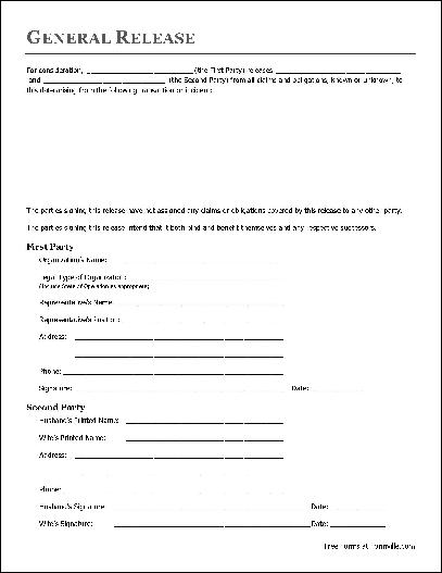 Free Basic Release Form Organization To Husband And Wife From