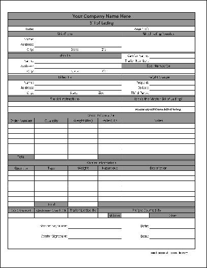 Free Bill Of Lading Form Download  Blank Bill Of Lading Form Template