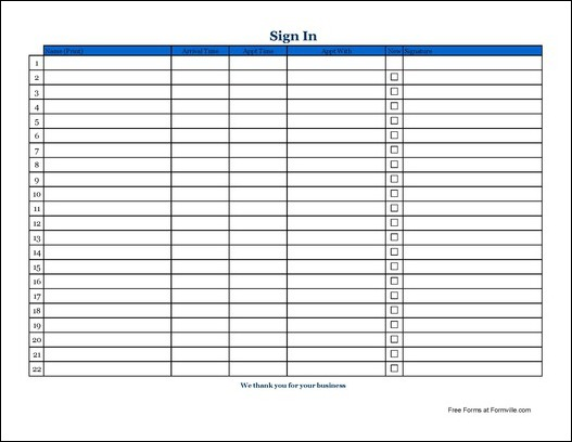 Appointment Sign Up Sheet Template Basic appointment sign in
