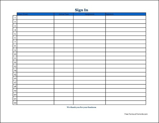 free simple volunteer sign in sheet with signature wide from formville