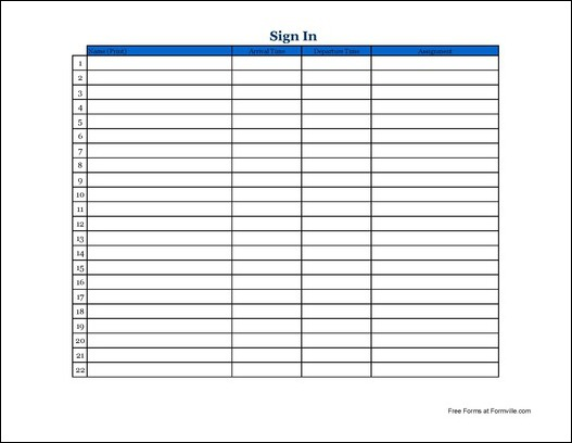 Free Basic Volunteer Sign In Sheet (Wide) from Formville