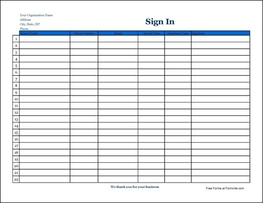 Free Detailed Company Sign In Sheet with Signatures Wide from – Sign in Sheets for Employees