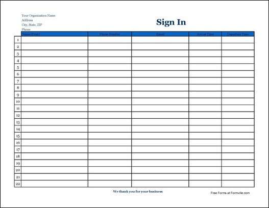 Free Detailed Company Sign In Sheet (Wide) from Formville