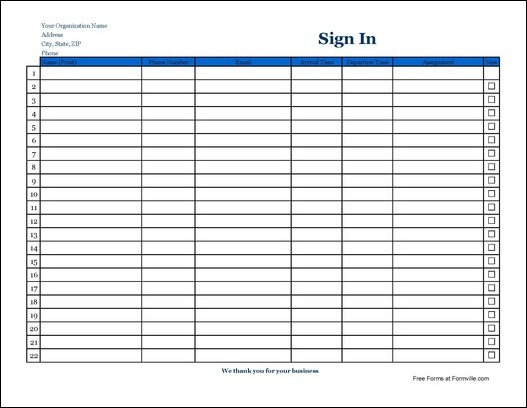 volunteer sign in and out sheet