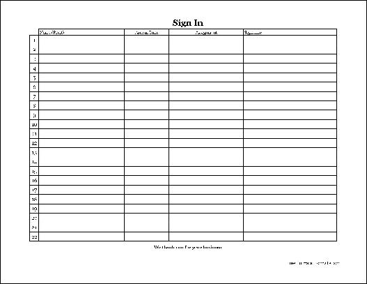 free easy copy simple volunteer sign in sheet with signature wide