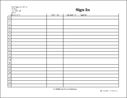 free easy copy basic company sign in sheet with signatures wide