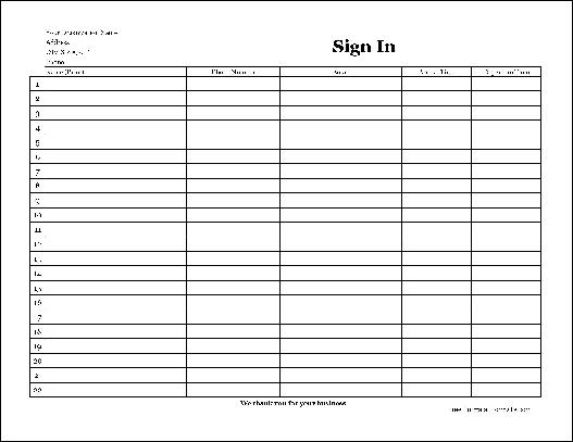 Free EasyCopy Detailed Company Sign In Sheet Wide From Formville
