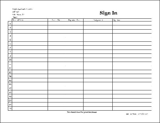 Free Easy-Copy Basic Company Volunteer Sign In Sheet with Signature ...
