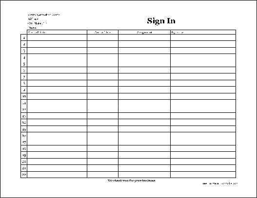 Free Easy-Copy Simple Company Volunteer Sign In Sheet with ...