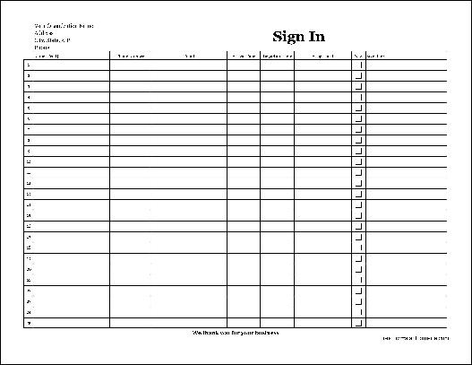 Free Easy-Copy Detailed Company Volunteer Sign In Sheet with ...