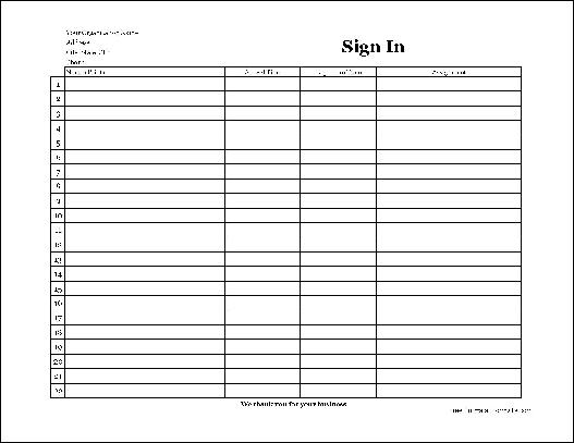 Free Easy-Copy Basic Company Volunteer Sign In Sheet (Wide) from ...