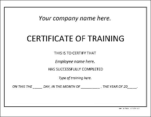 Free Basic Dated Training Certificate From Formville
