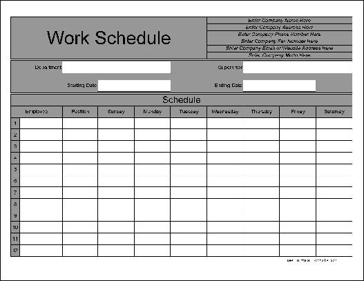 Monthly Break Schedule Template Excel | Calendar Template 2016