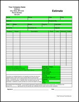 free printable estimate forms template